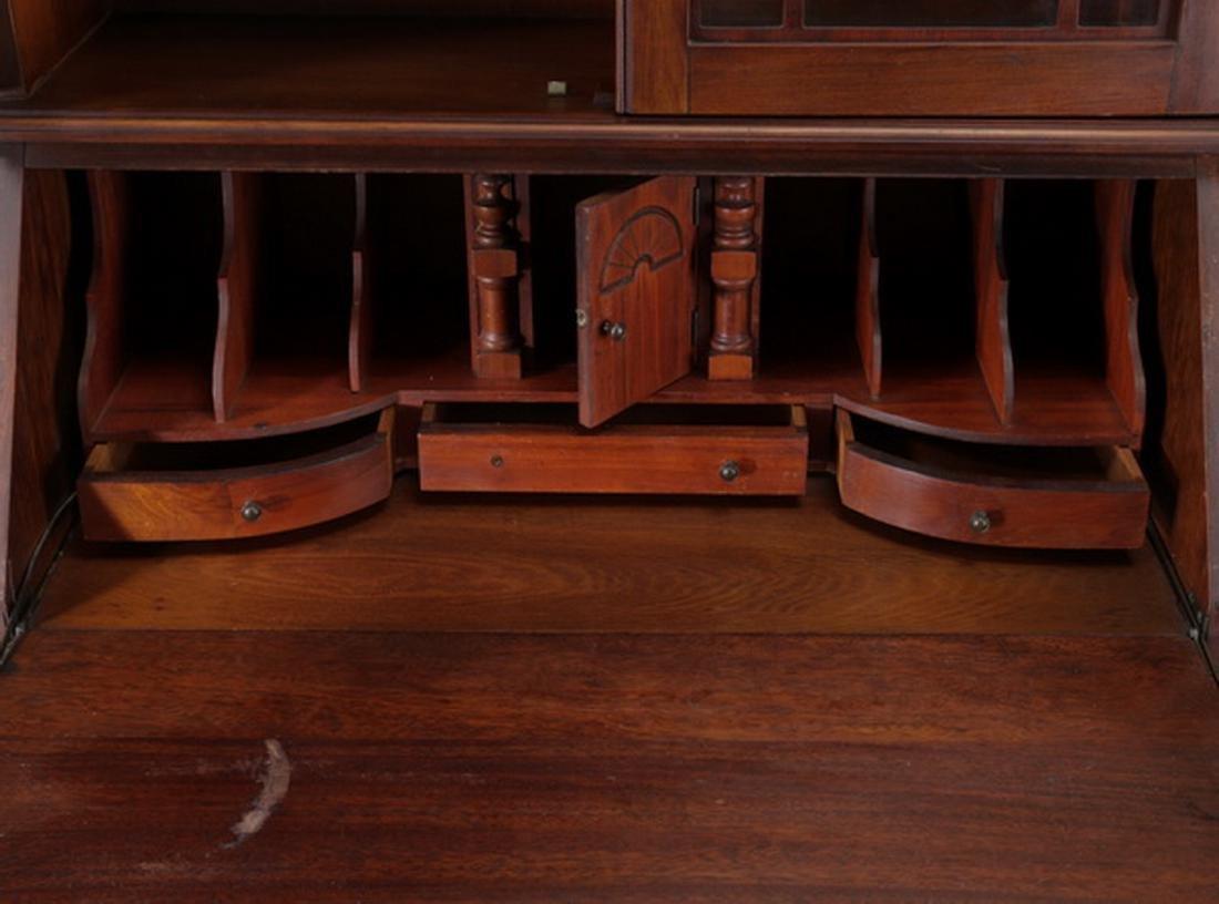 Federal style mahogany slant front secretary bookcase - 3