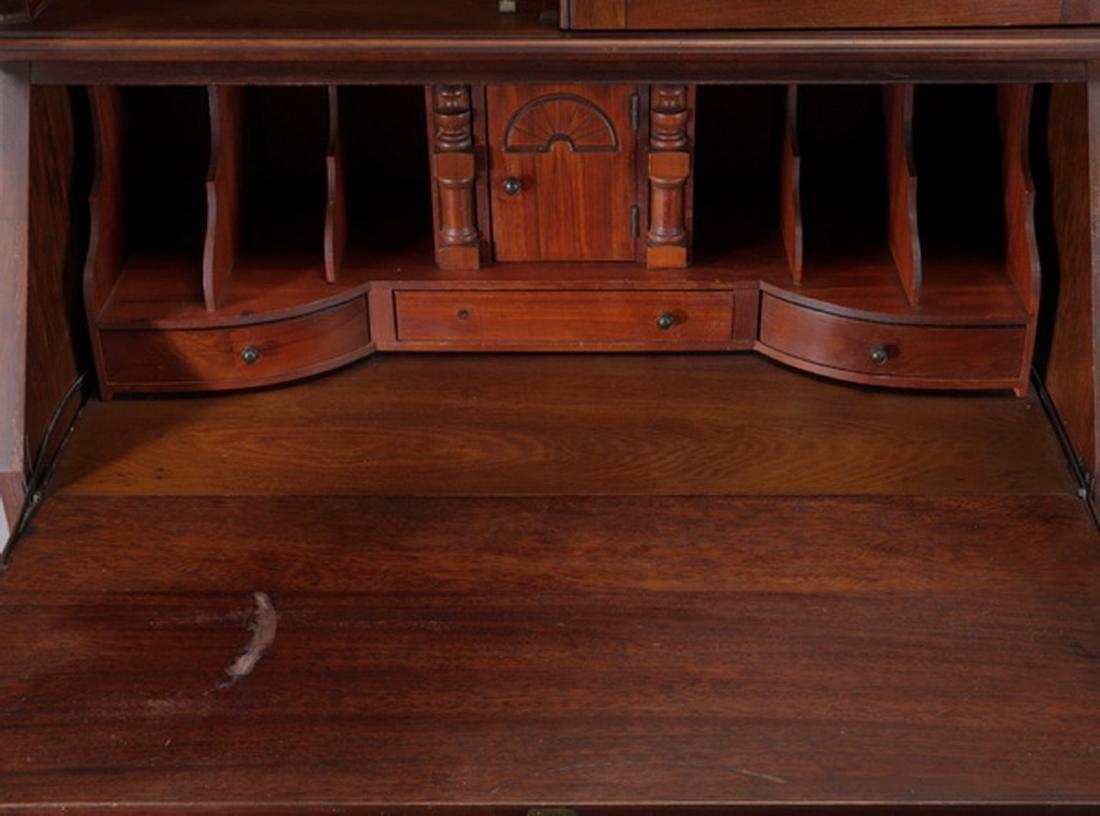 Federal style mahogany slant front secretary bookcase - 4