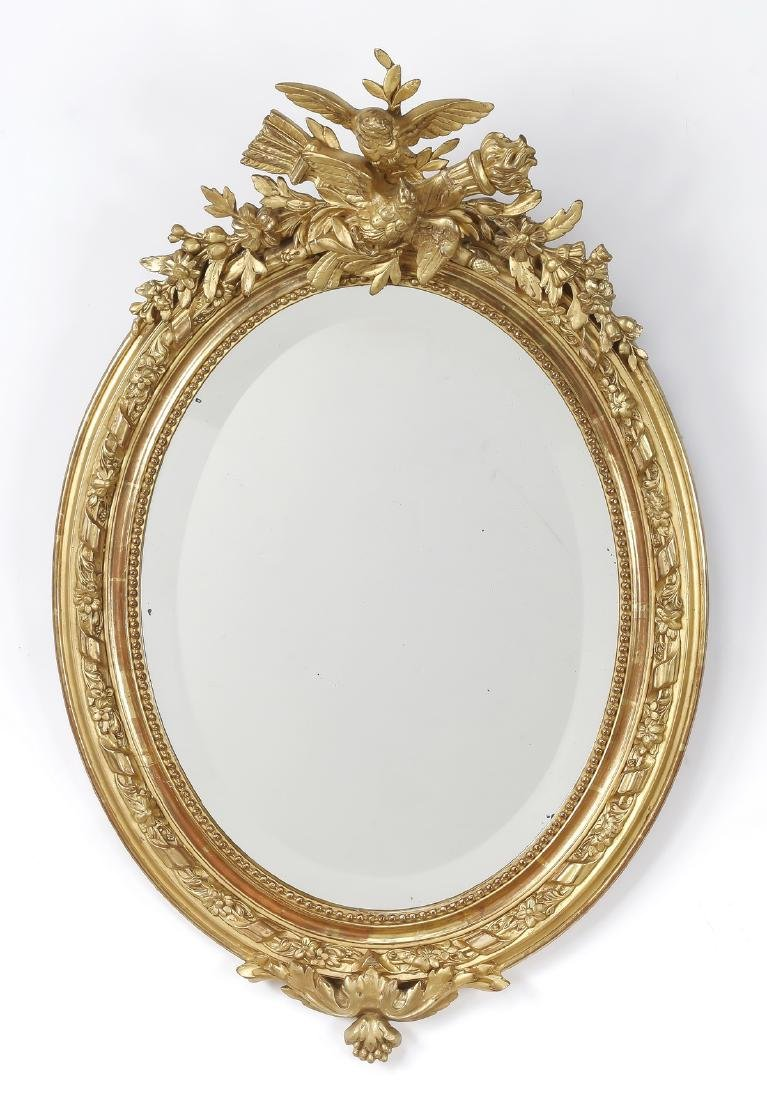 Early 20th c. French gold leaf mirror w/ lovebirds