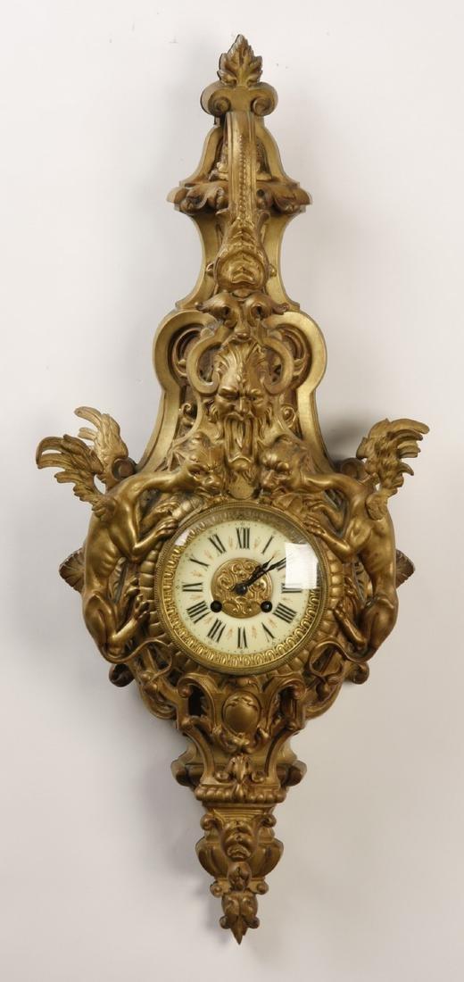 "19th c. French gilt bronze cartel clock, 29""h"