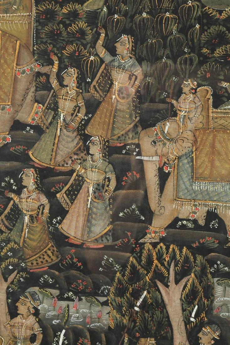 Indian hand-painted scene of elephant procession - 2
