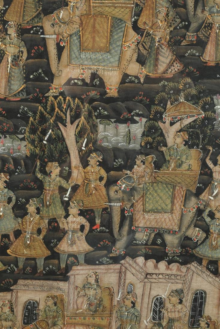 Indian hand-painted scene of elephant procession - 3