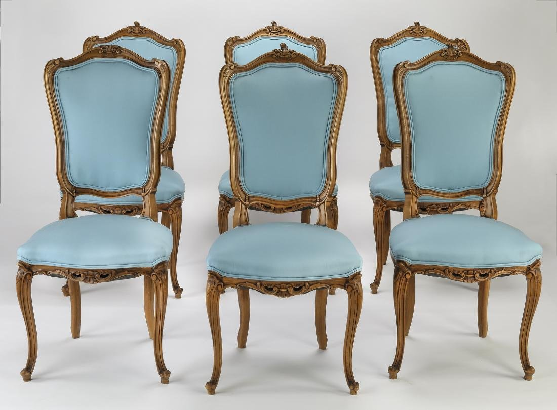 (6) 19th c. Rococo Revival walnut dining chairs