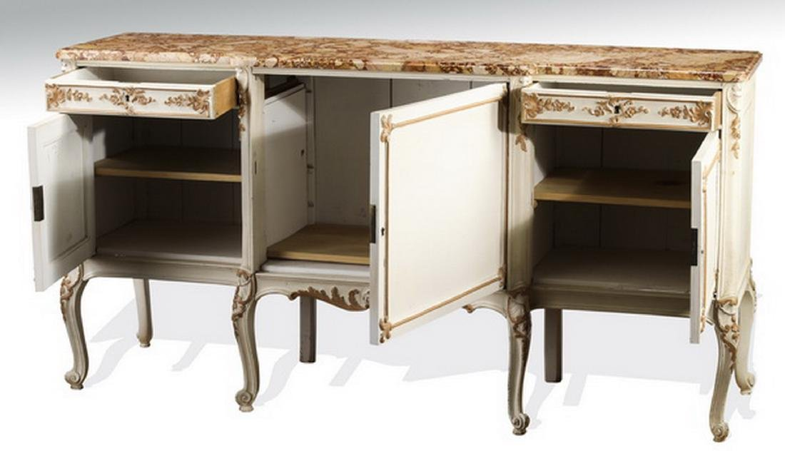 Louis XV style paint decorated marble top buffet - 2