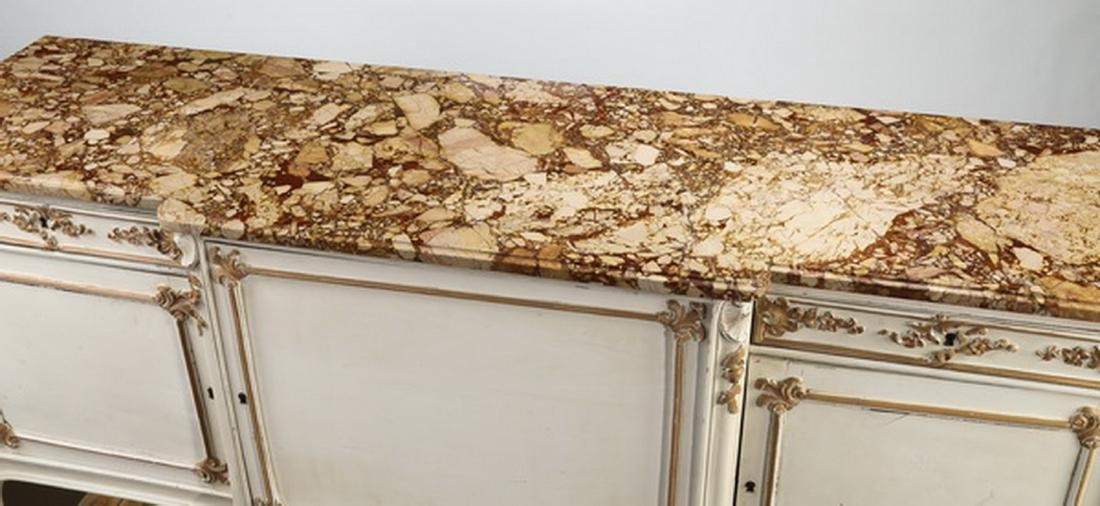 Louis XV style paint decorated marble top buffet - 3