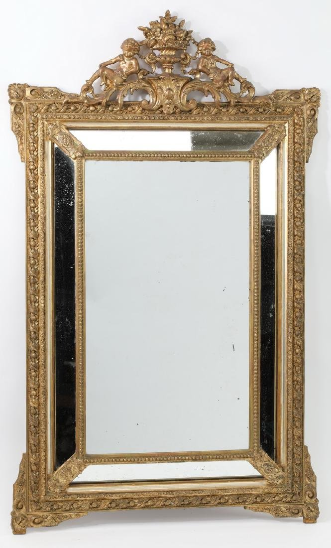 19th c. French gilt wood beveled mirror