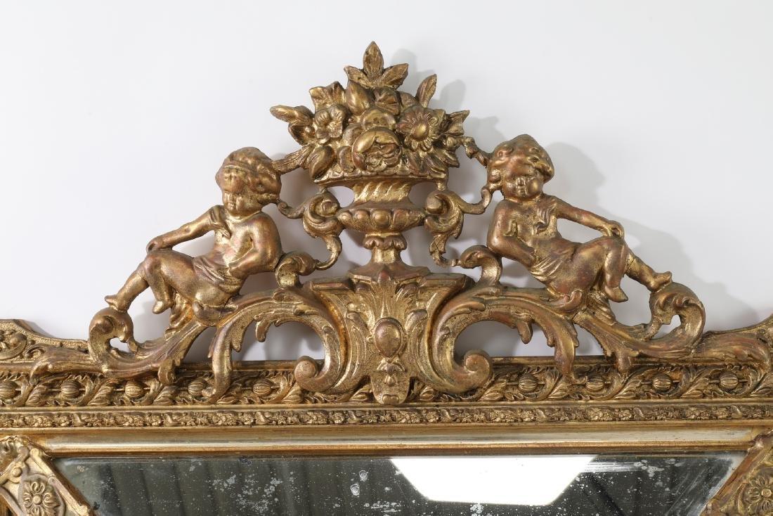 19th c. French gilt wood beveled mirror - 3