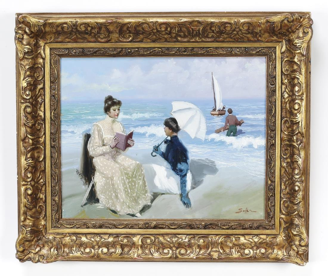 Juan Soler signed O/c of ladies by the seashore