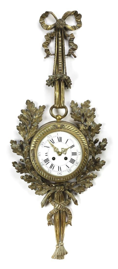 19th c. French bronze Louis XVI style cartel clock