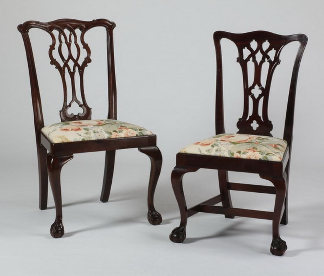(2) Chippendale style mahogany chairs, marked