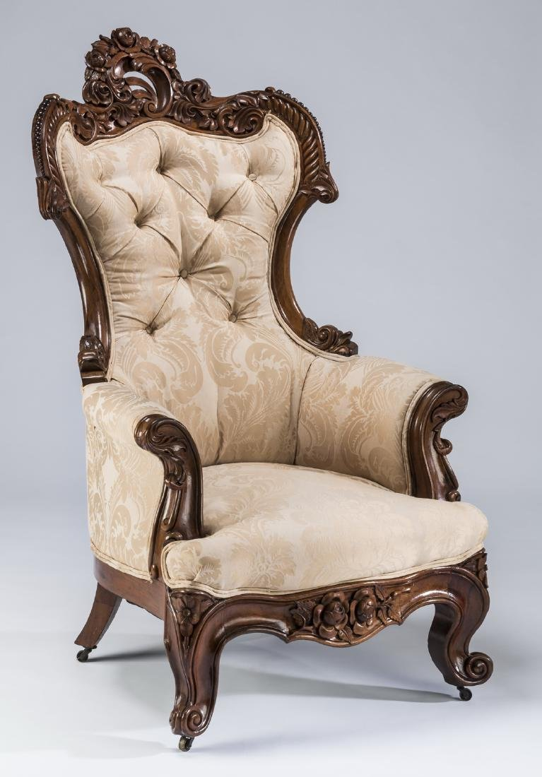 "Rococo Revival mahogany curved back armchair, 47""h"