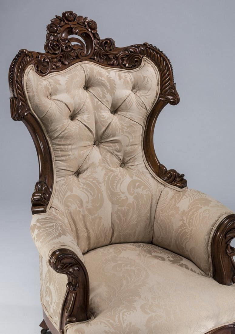 "Rococo Revival mahogany curved back armchair, 47""h - 2"
