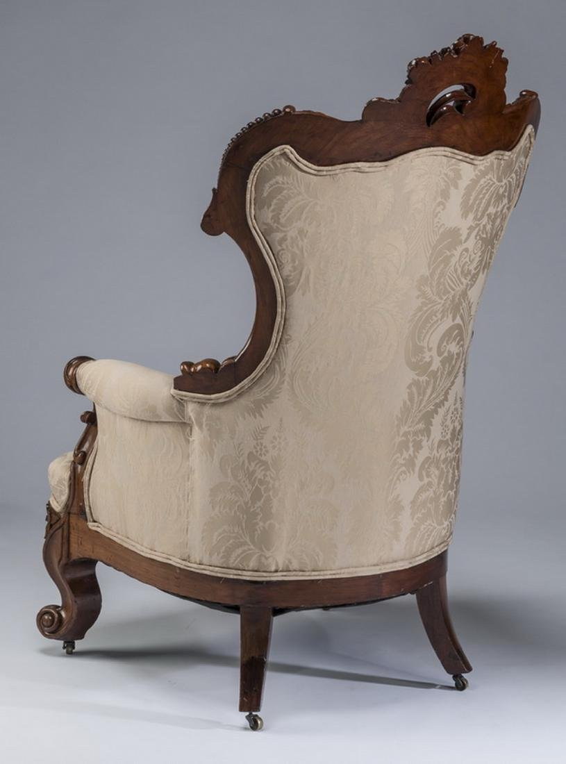 "Rococo Revival mahogany curved back armchair, 47""h - 4"