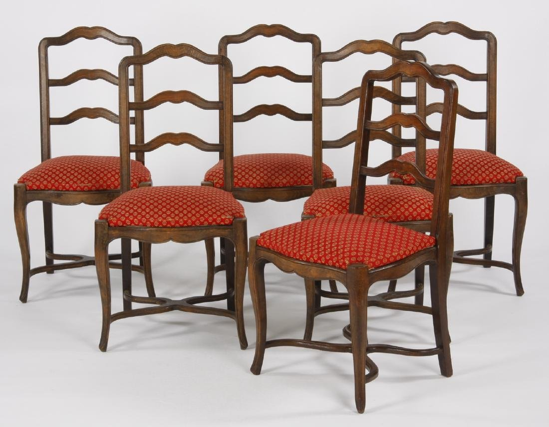 (6) French walnut ladder-back chairs