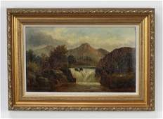 Late 19th c. American O/c of waterfall, signed