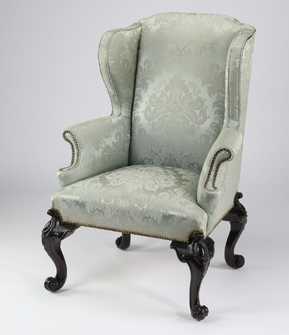 Georgian style wingback chair in Scalamandre damask