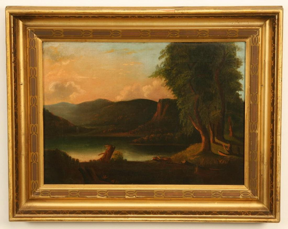 19th c. American oil on canvas landscape at sunset