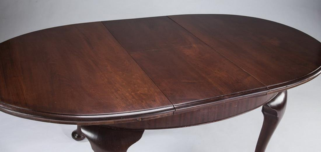 Queen Anne style oval mahogany dining table w/ leaf - 2