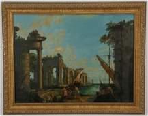 Manner of Claude Lorrain Oc harbor scene w ruins