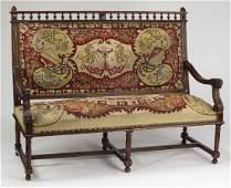 19th c French walnut bench w/ original needlepoint