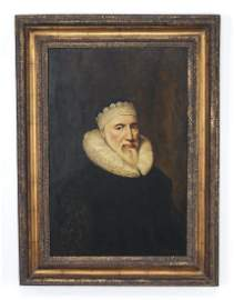 Continental portrait of bearded man w/ruff & cap