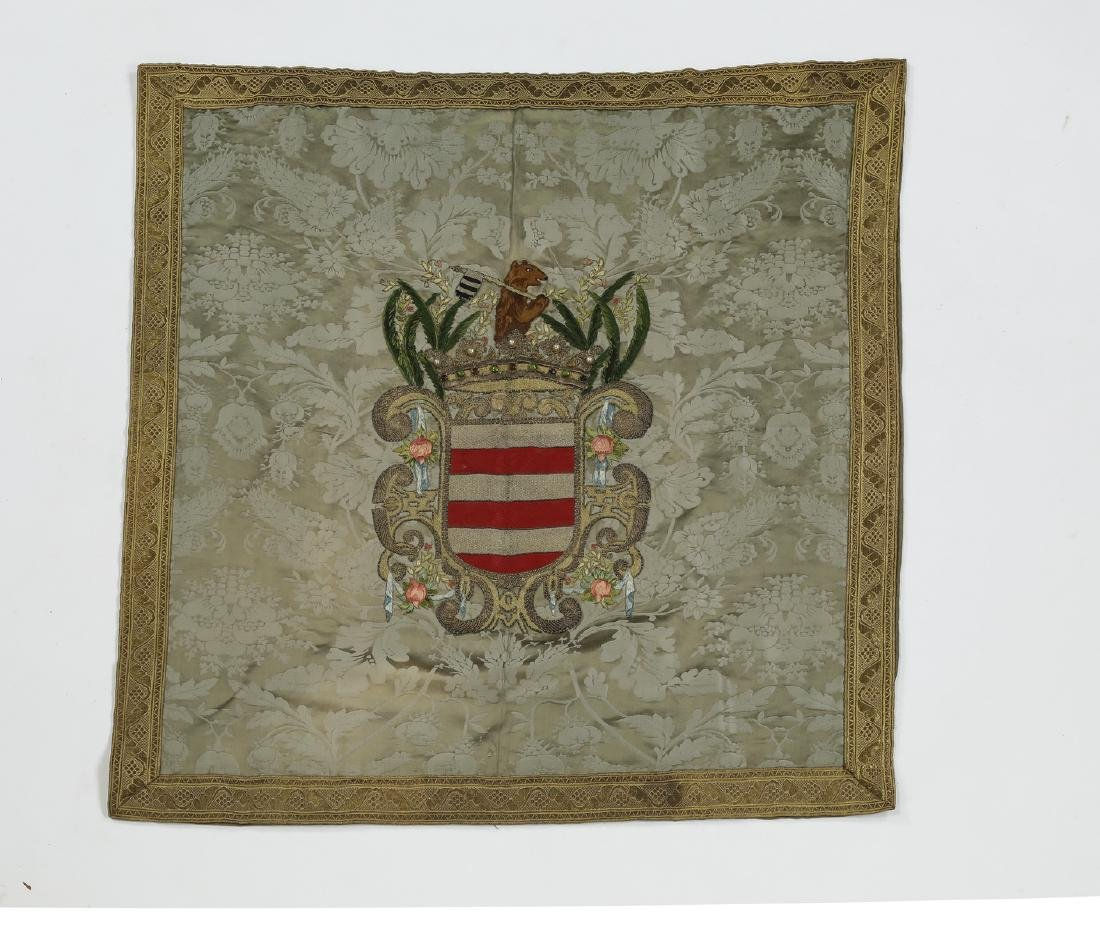 """Embroidered heraldic shield wall hanging, 36""""h"""
