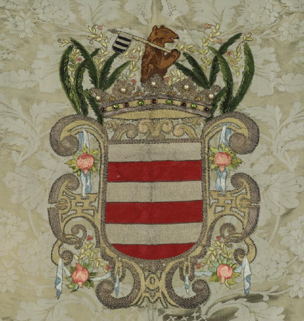 """Embroidered heraldic shield wall hanging, 36""""h - 2"""