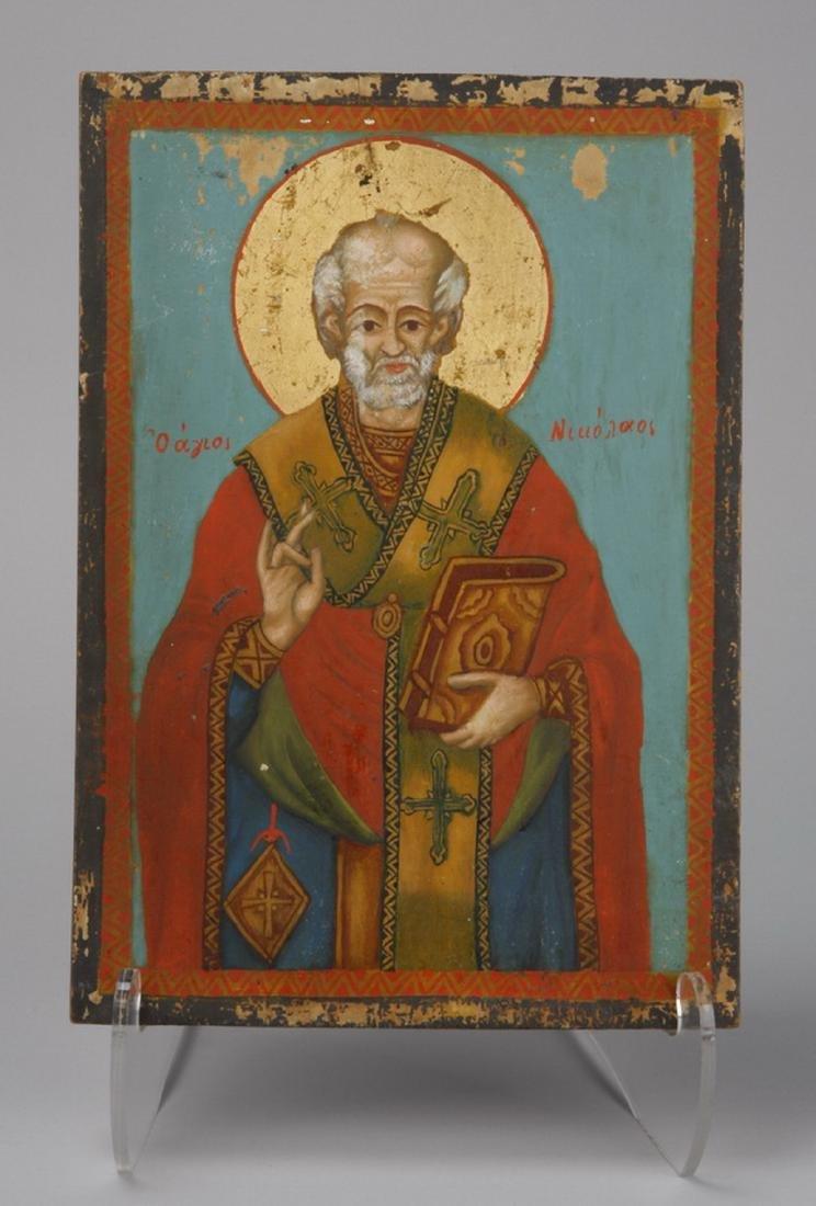 Early 20th c. Greek Orthodox icon of St. Nicholas