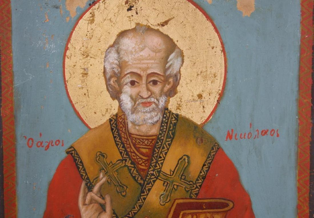 Early 20th c. Greek Orthodox icon of St. Nicholas - 2