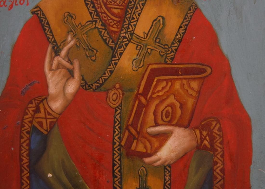 Early 20th c. Greek Orthodox icon of St. Nicholas - 3