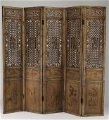 """Chinese 5-panel carved screen w/Immortals, 85""""h"""