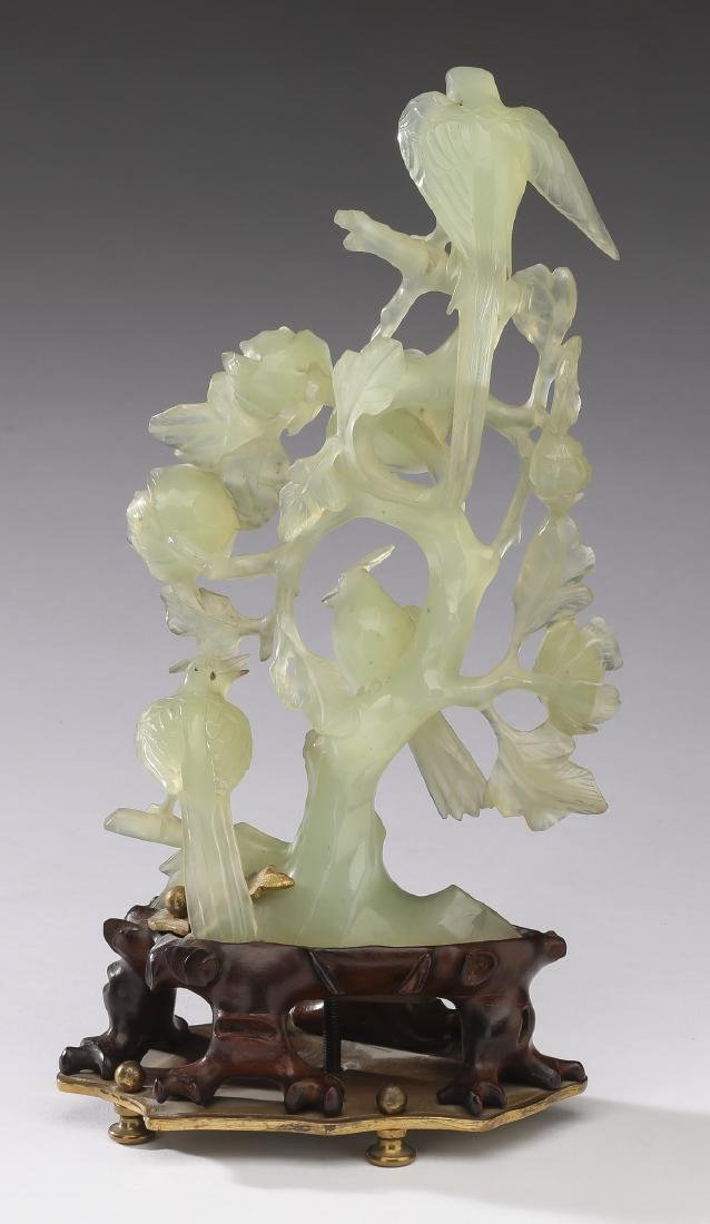 """Chinese jade sculpture of birds in a tree, 11""""h - 3"""
