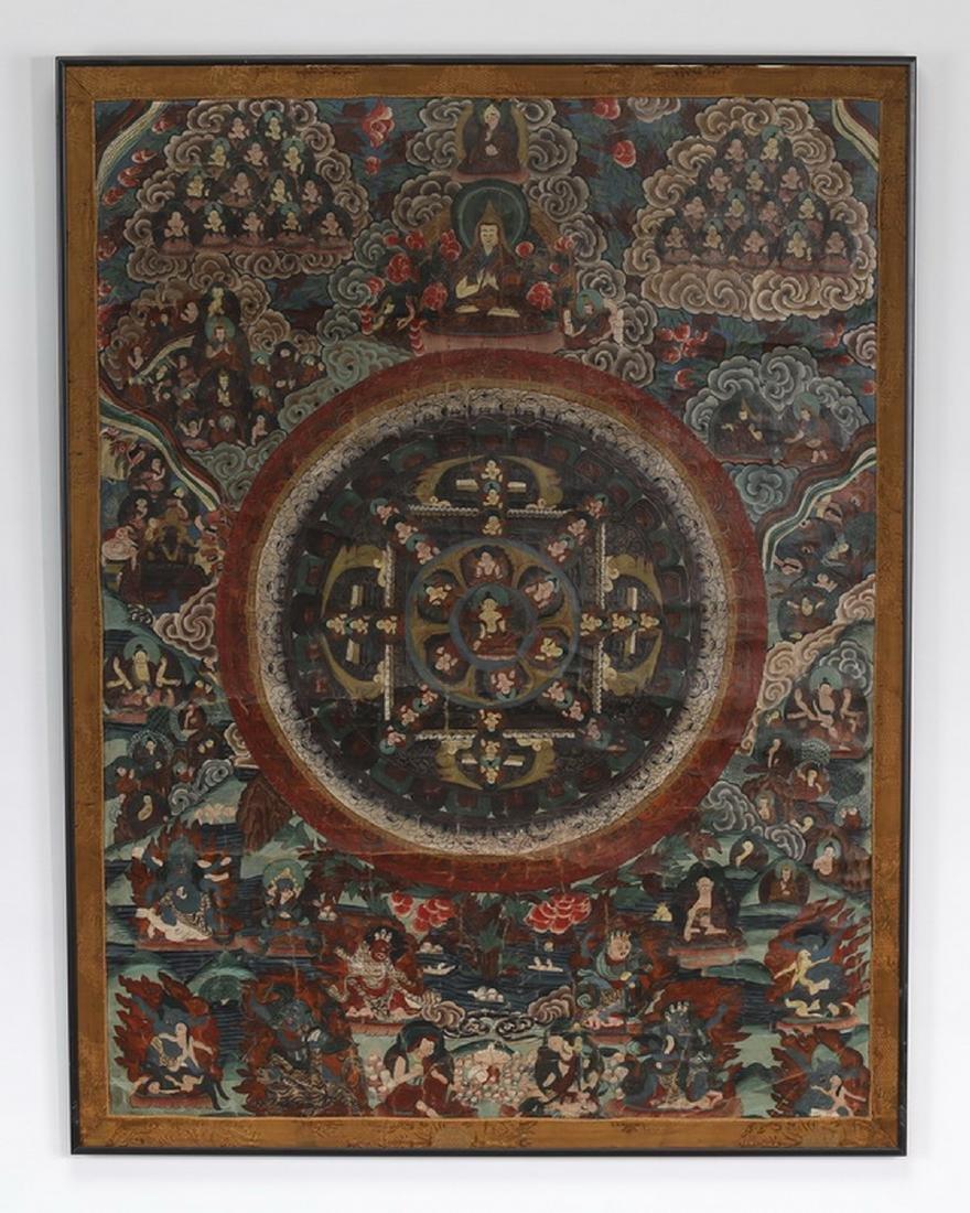 "Tibetan Thangka w/ the attributes of the Buddha, 33""h"
