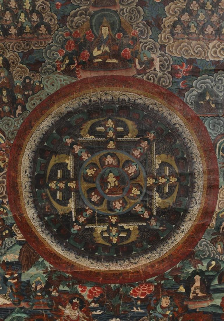 "Tibetan Thangka w/ the attributes of the Buddha, 33""h - 2"