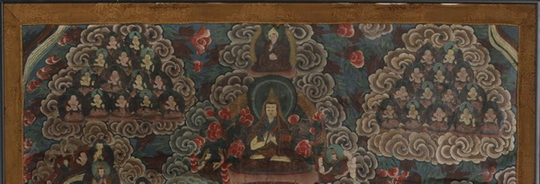 "Tibetan Thangka w/ the attributes of the Buddha, 33""h - 3"