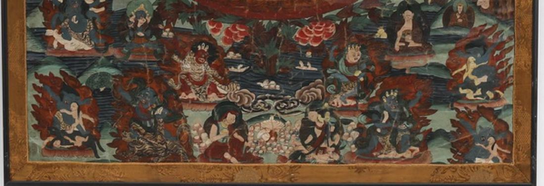 "Tibetan Thangka w/ the attributes of the Buddha, 33""h - 4"