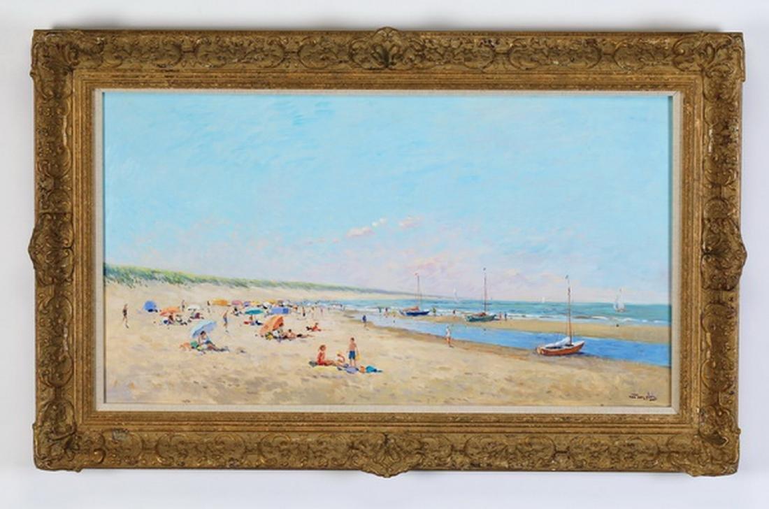 Niek Van der Plas signed O/p of a beach w/ boats