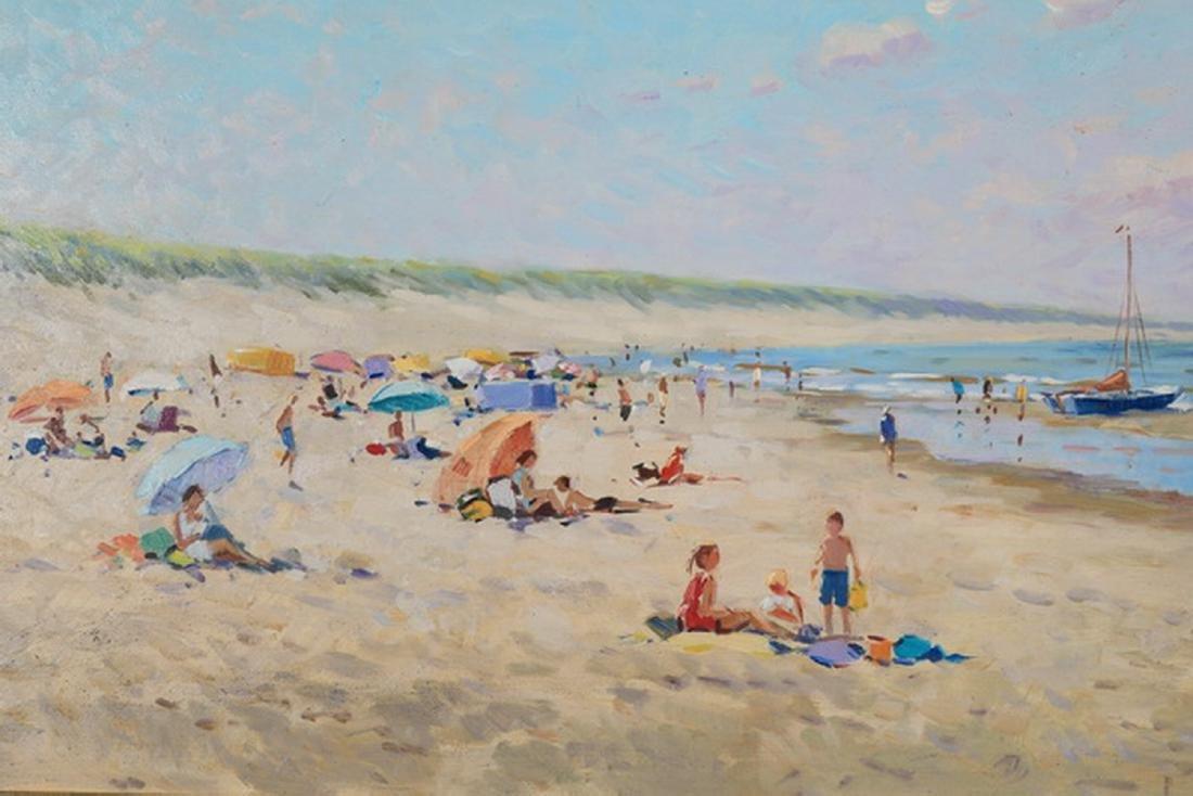 Niek Van der Plas signed O/p of a beach w/ boats - 2