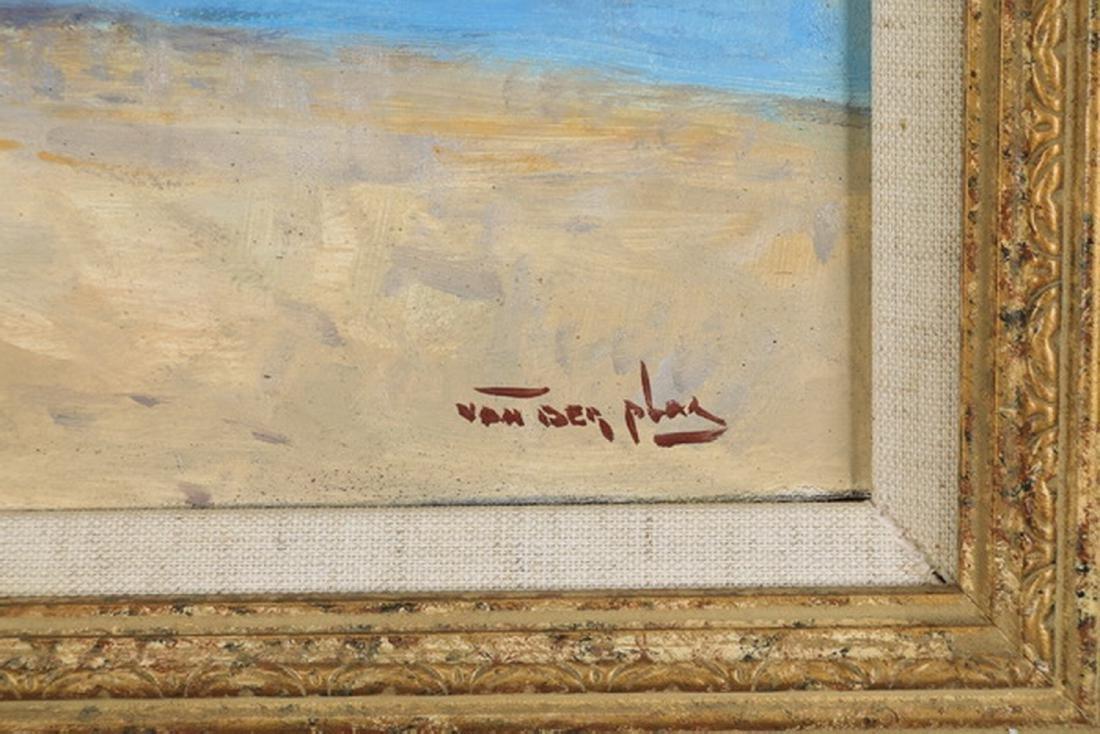 Niek Van der Plas signed O/p of a beach w/ boats - 3