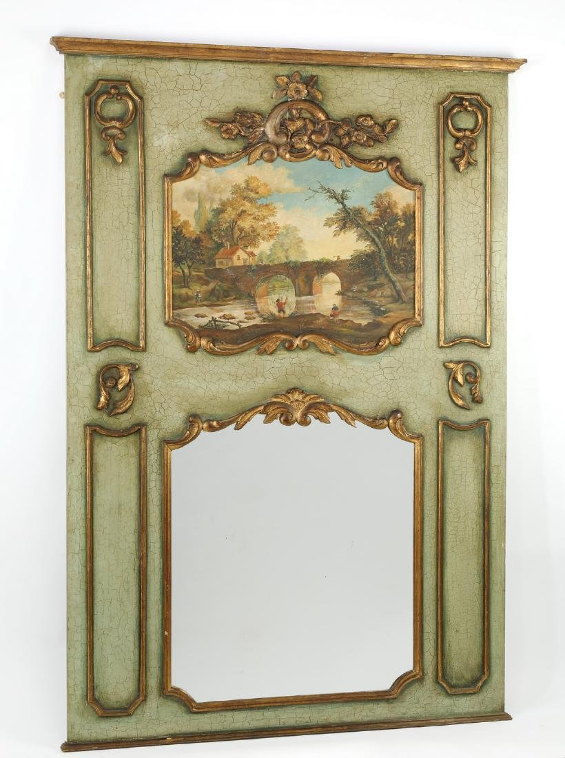 """19th c. French Louis XV style trumeau mirror, 69""""h"""