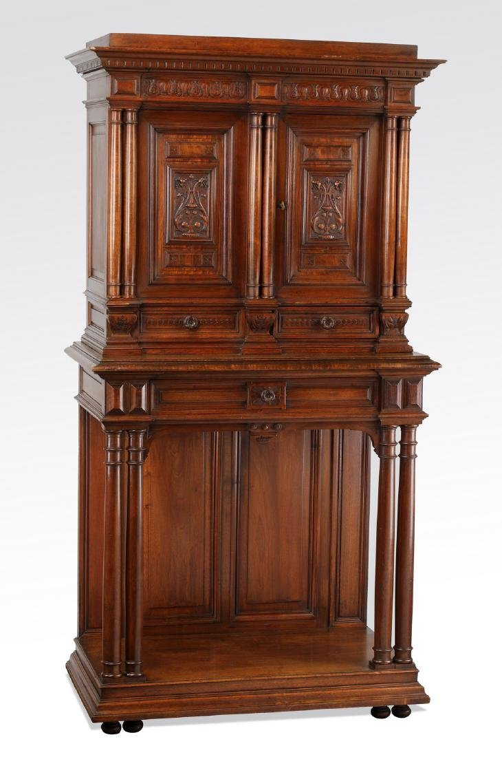 19th c. French carved walnut court cupboard