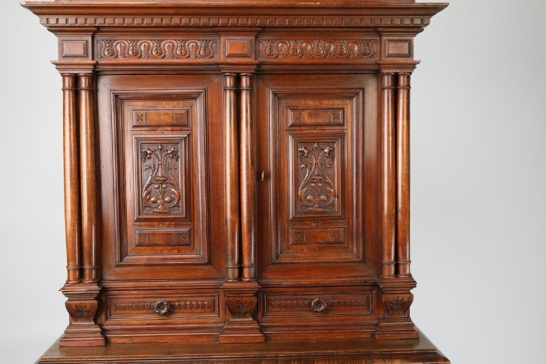 19th c. French carved walnut court cupboard - 2