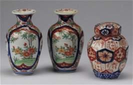 3 Japanese Imari porcelain vases