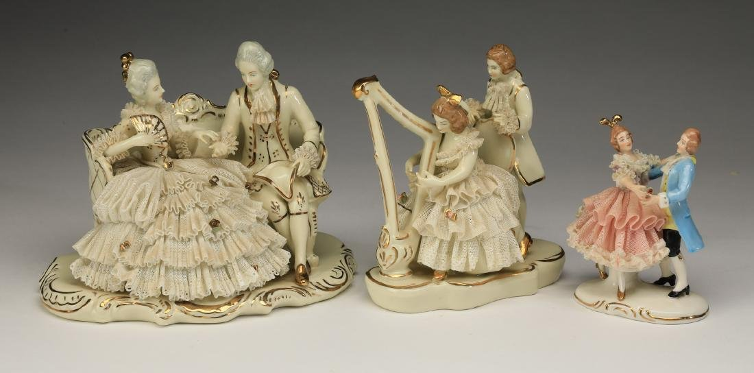(3) Early 20th c. Dresden lace porcelain figures