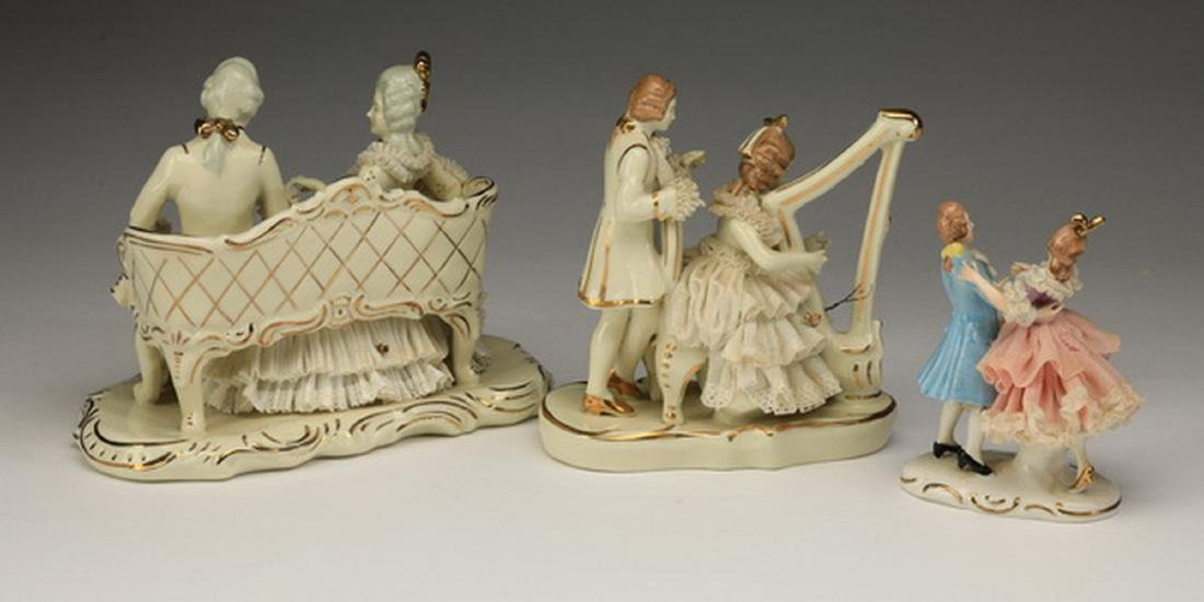 (3) Early 20th c. Dresden lace porcelain figures - 2