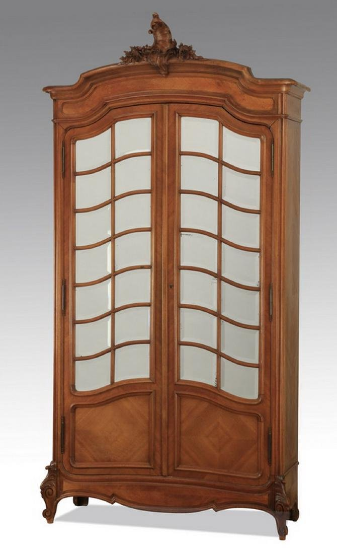 19th c. French walnut armoire w/ mirrored doors