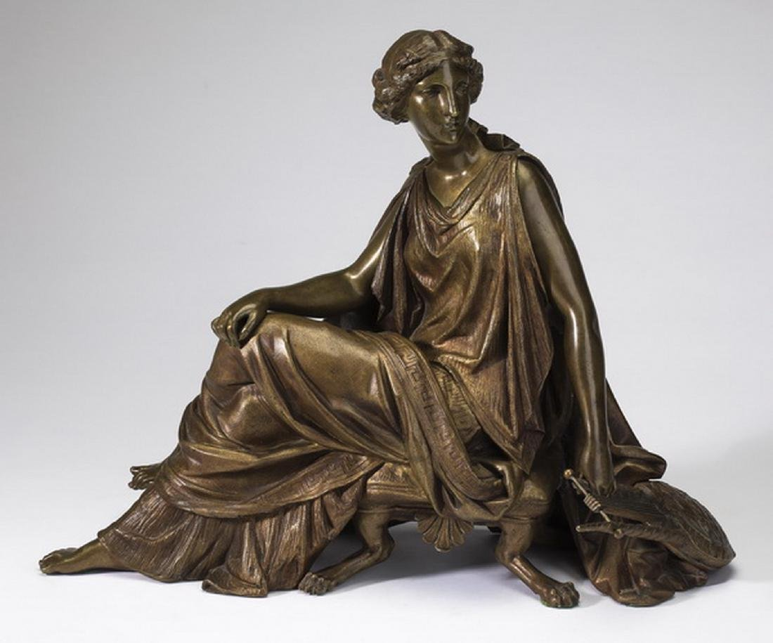 "19th c. French patinated bronze of Sappho, 12""h"