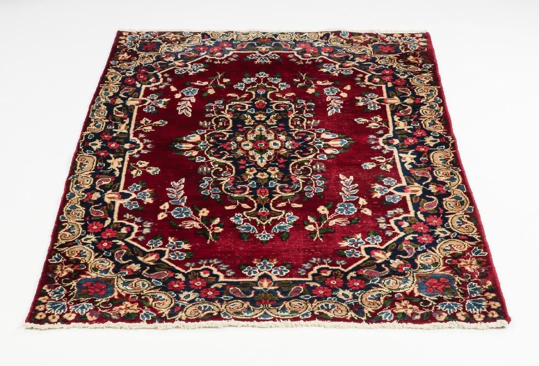 Hand knotted Persian Kerman wool rug