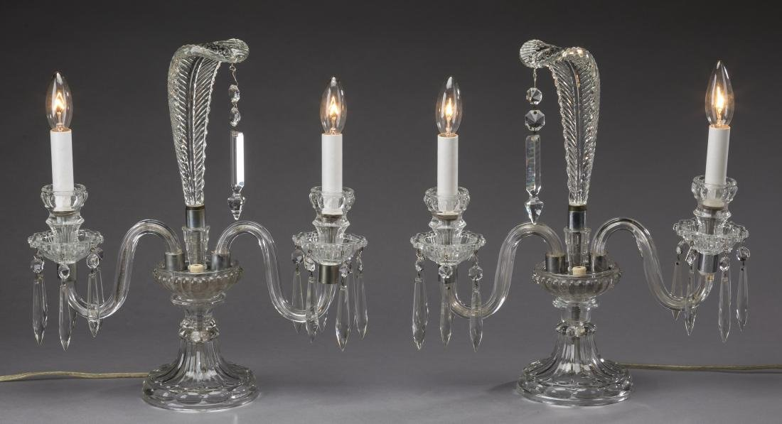 "(2)  Art Deco glass candelabra lamps, 14""h"