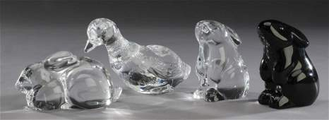 4 Baccarat crystal rabbits  duck marked